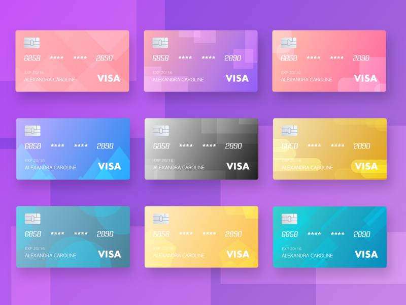 The gradient exercise,color visa cards card color