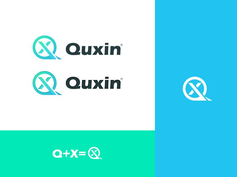 Quxin Logo-Design type simple paper logotype font flat branding logo
