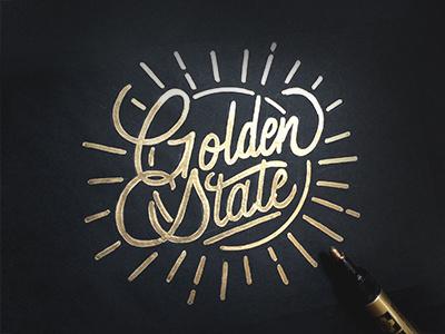 Golden State | Golden Pen lettering hand typography brush paintpen gold