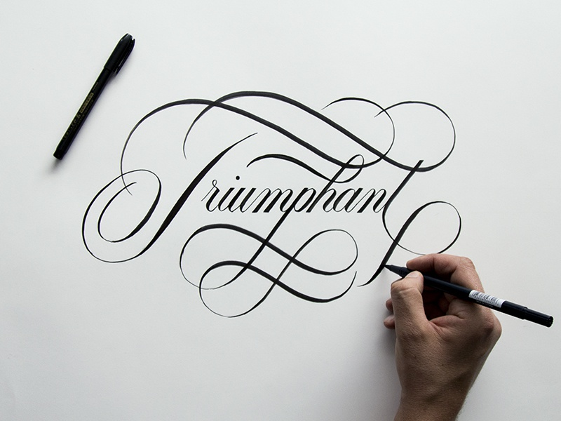Triumphant script copperplate brushpen ginozko typography lettering