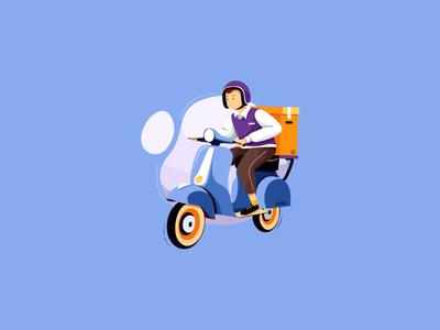 motorbike delivery illustration