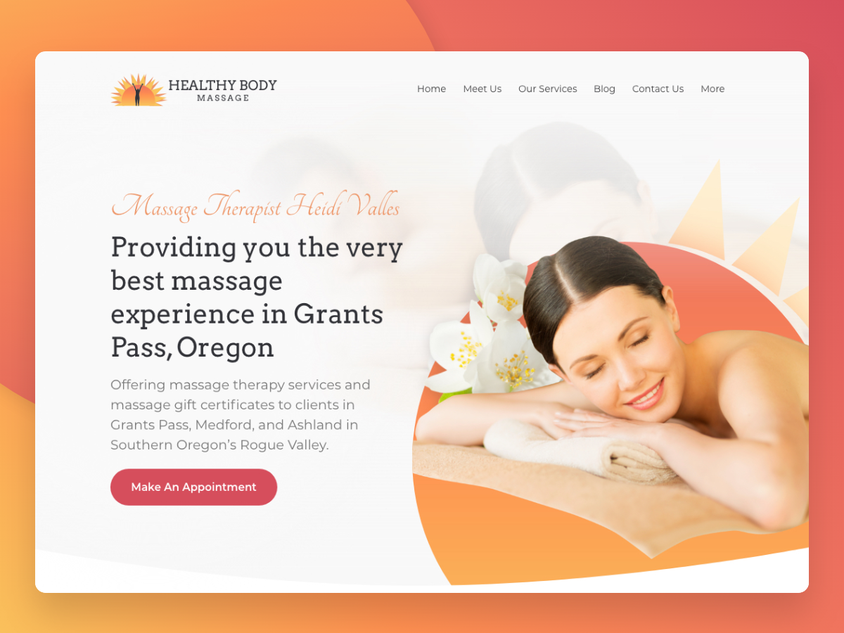 Healthy Body Massage minimal flat vector ui design typography web website