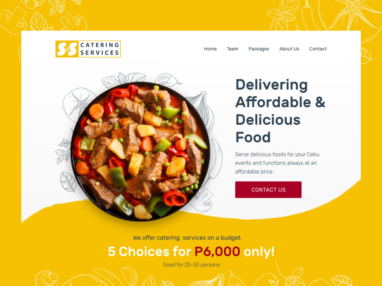 S&S Catering minimal flat vector ui design web typography website