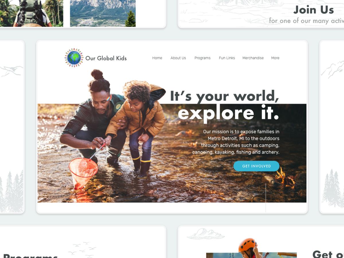 Our Global Kids minimal illustration flat vector ui typography design website web