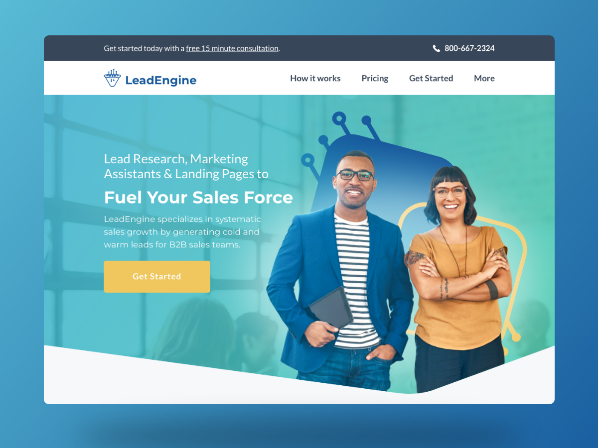 Lead Engine flat vector typography ui website web design