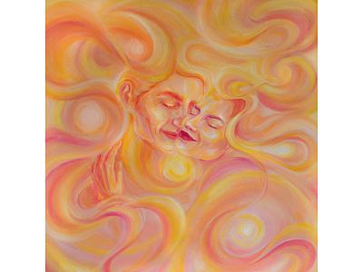 Loving hugs illustration artist art oil painting