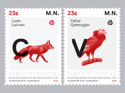 Postage Stamps stamp type print fox vulture