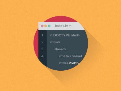 "Flat Icon ""Frontend"" development flat icon simple clean minimal frontend portfolio longshadow"