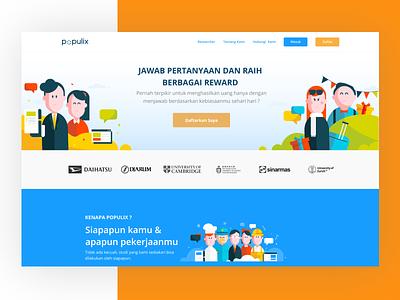 Landing Page Populix adobe figma uxui uiux design development jakarta indonesia illustration agency illustrator survey ux ui website landing page