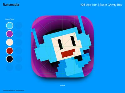 Super Gravity Boy App Icon super gravity boy retro rantmedia mobile games ios indie games gravity app icon