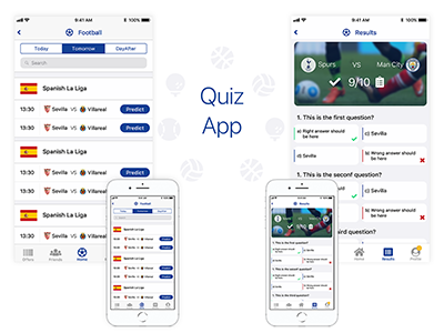 Quiz App ux ui web responsive illustrator design app mobile