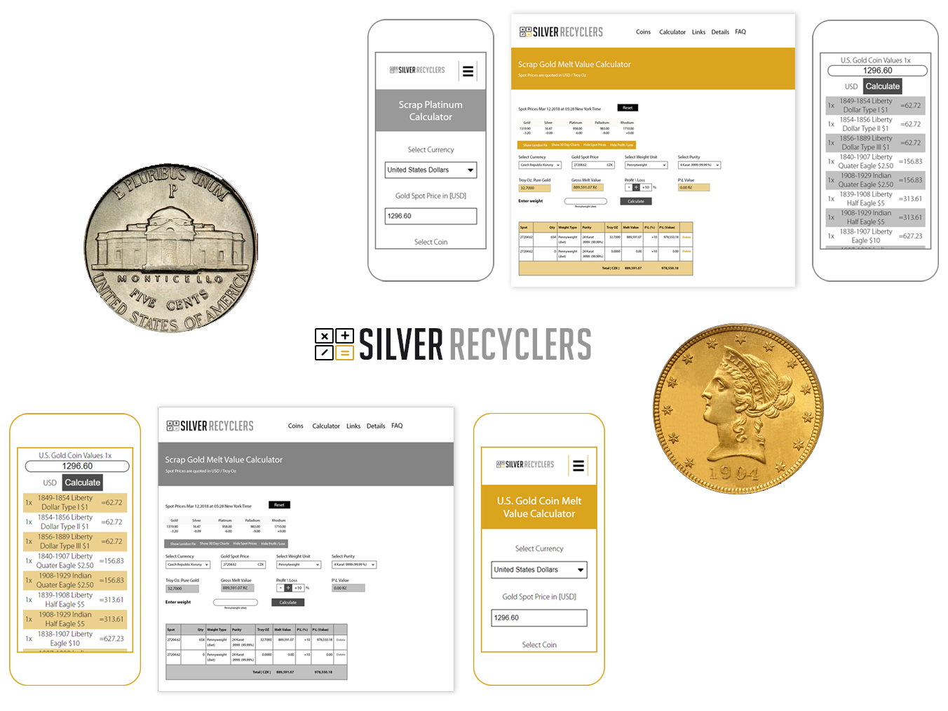 Silver recyclers app website ux ui mobile web branding responsive illustrator design
