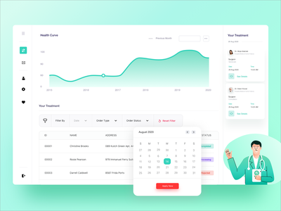 Concept of Medical Booking App functional simple medicine medical care care business illustration aplication fintech finance medical health ready4s clean trend 2020 reports charter ux ui booking