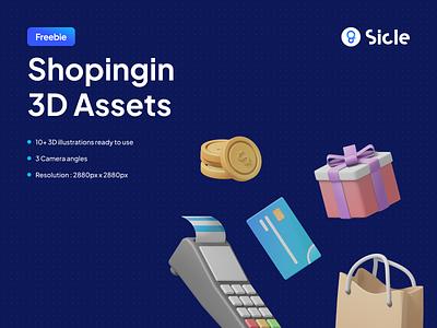 Shopingin - 3D Illustration Pack icon isometric ecommerce shop shopping freebies freebie free products product asset assets pack kit illustration branding 3d