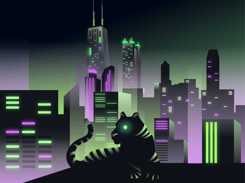 Dusk to Dusk chicago technology cyberpunk futuristic abstract scifi tiger city illustrator creative aiga vector brandidentity illustration design branding graphicdesign