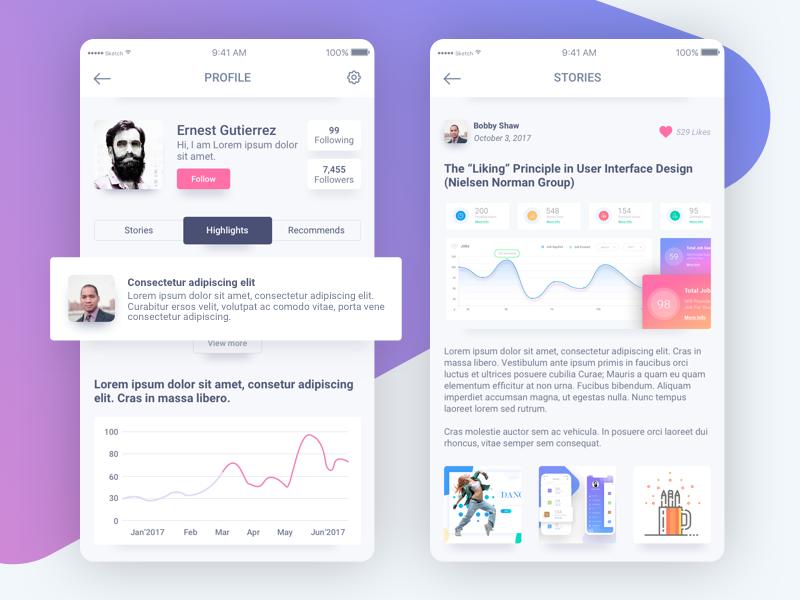 Ui Articles App profile user interface design recommends chart graph followers follow details mobile application article ux ui