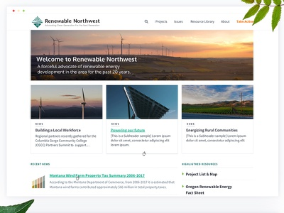 Renewable Energy creative clean nonprofit cards homescreen energy webdesigner web