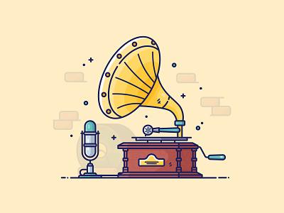 Gramophone & Mic adobe drawing vector art digital illustration illustration vector graphic design icon illustrator flat design