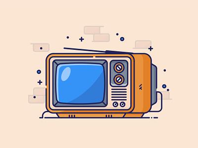 Vintage Television drawing digital illustration orange vector art vintage vector illustration graphic design icon illustrator flat design