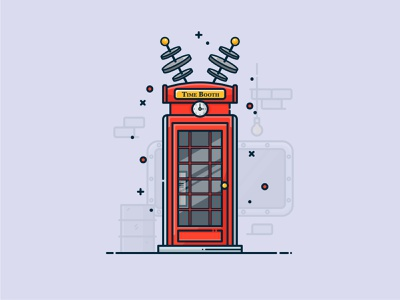 England Phone Time Booth simple design icon vector art illustrator digital illustration vector illustration time machine phone booth london england flat design