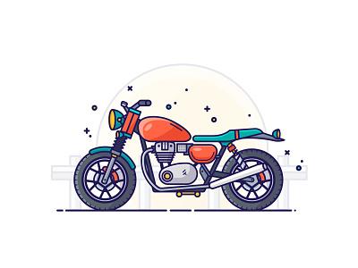Motorcycle icon graphic design drawing simple design illustrator digital illustration vector illustration motorbike motorcycle flat design
