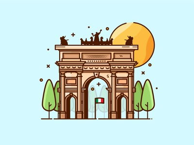 Milan - Arco Della Pace web icons illustrator italy simple design italy vector illustration best flat design arco della pace milan-icons italy
