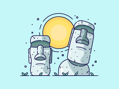 Easter Island flat drawing vector graphic design illustrator icon digital illustrator flat design vector illustration vector art easter island