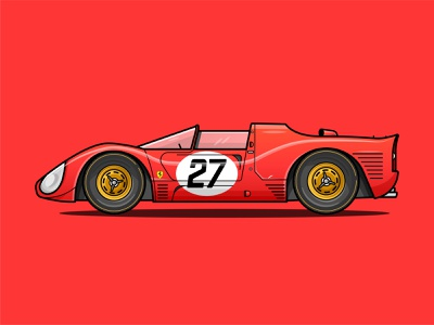 Ferrari Flat Illustration flatdesign shadows red car vehicle red icon design illustration how to draw cars ford vs ferrari