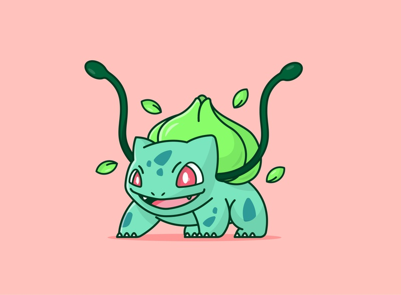 Bulbasaur Flat Design flat design tutorial icon design flat design character art pikachu bulbasaur pokemon character design