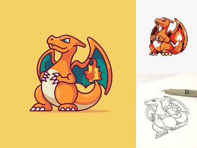 Charizard Illustration digital illustration simple design vector art illustrator icons design flat design pikachu charmander charizard pokemon