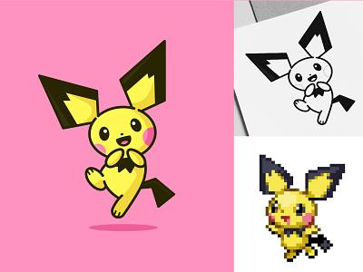Pichu flat illustration icon simple design logo design pokemon art vector character design characterdesign cute cartoon cute pokemon pikachu pichu pokemon icondesign flatdesign