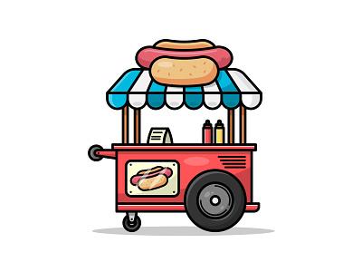 Hot Dog Stand - Flat Design Illustration hot dog stand flat design illustrator icon graphic design digital illustrator uidesign ux adobe illustrator tutorial icon design logo design adobe illustrator digital art vector illustration icon design fast food hot dog vector