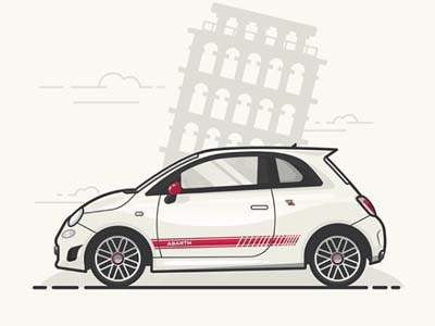 Fiat 500 Abarth Flat Illustration