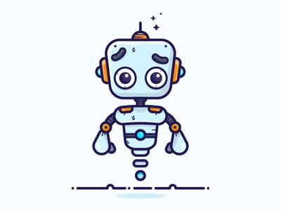 Cute Robot Character vector outline web sticker blue minimal illustration simple design flat  design flat art illustrator roboto slab icon character adobe