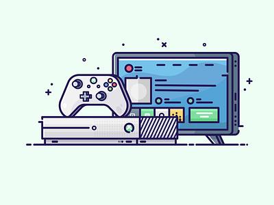 Gaming Console vector art simple design vector illustrator graphic design icon flat design entertainment gaming xbox