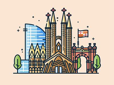 Barcelona landmark buildings barcelona spain vector art simple design illustration digital illustration graphic design icon illustrator flat design