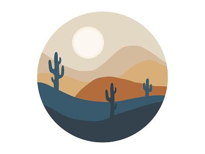 Wondrous Views Illustration - Desert simplicity illustrate desert views vector travel procreate illustration graphic design circle beauty simple minimal design