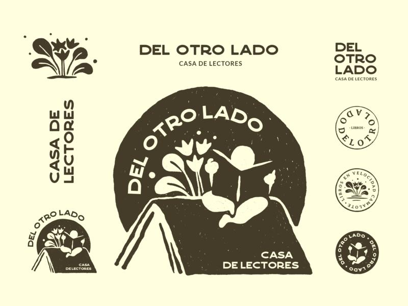 Del otro lado - Unchosen vol.1 brand identity retro badge rubber stamp stamp seal book store reading illustration vector typography branding rebrand brand design visual identity identity system logo system logo graphic design