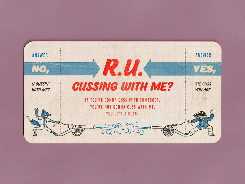 Are you cussing with me? fantastic mr fox wes anderson movie badger fox typography print acquaintance card character design texture vintage retro illustration