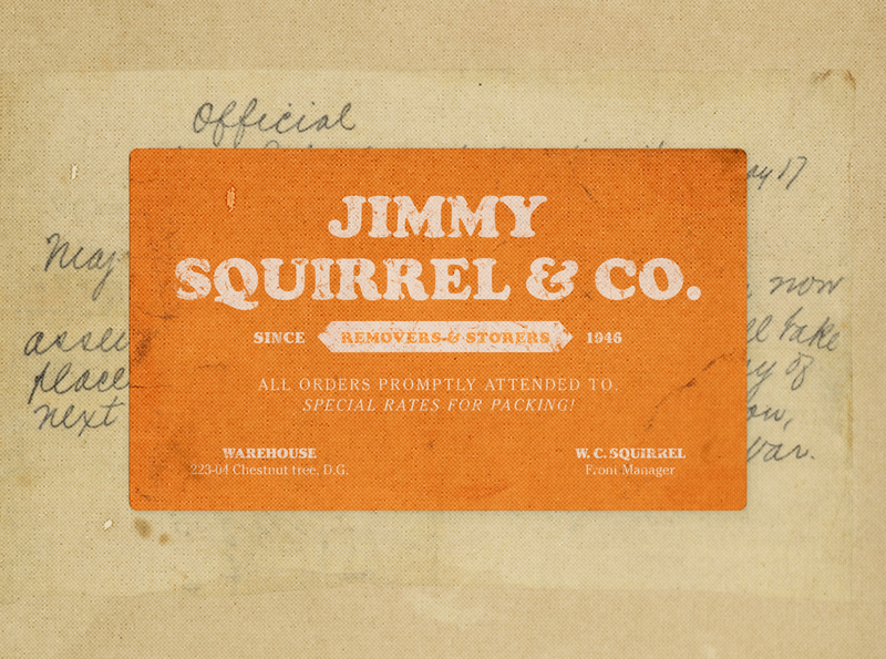 Jimmy Squirrel & Co. print design texture paper print squirrell fantastic mr fox movie wes anderson graphic design typography business card faux