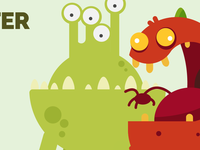 Drawing Two Monsters for game- Flat design Style.