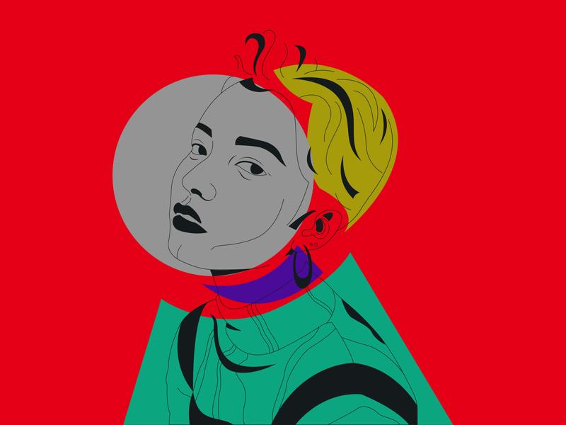 Portrait Face expression line art illustraion portait face