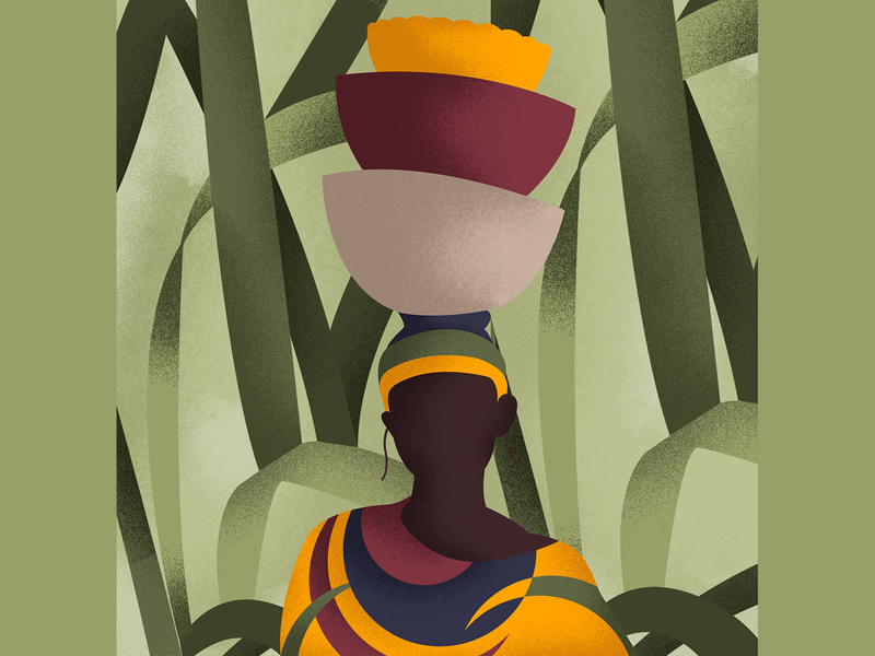 Tribal Look texture forest leaves character illustraion tribal