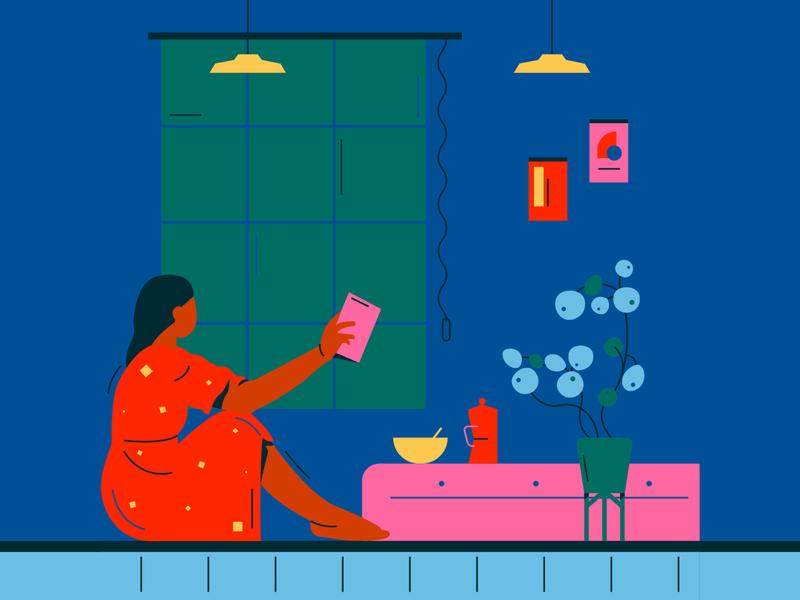 Reading learning interior strokes flat illustration reading
