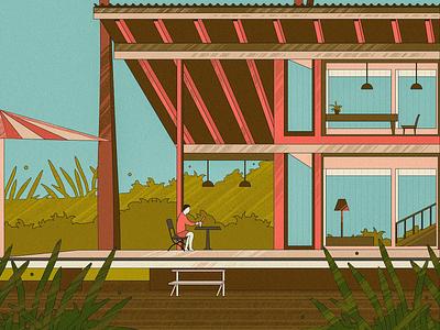 Resort building green art illustration resort