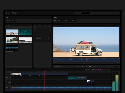 Video Editing cinematic audio workspace video ui editing
