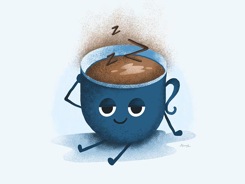 Sleeping face icon emoji sticker coffeecup expression cartoon character cartoon sleeping sleepy
