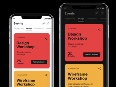 Events App guidelines light mode dark mode ios mobile ui ui design events mobile app
