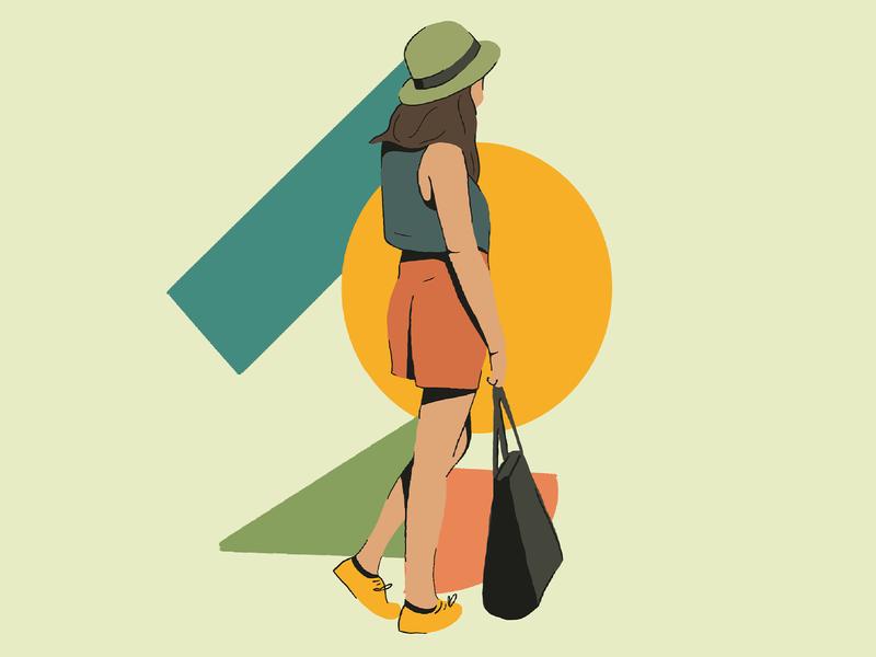 Street Side illustration character women walking hat carry bag walk street