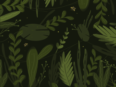 Night Vision forest procreate shadows calm night butterfly plants leaves